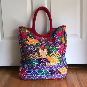 Multicolored tapestry Embroidered Bag